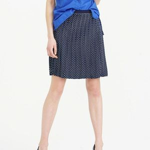 J Crew Navy Polka Dot Pleated Skirt 00